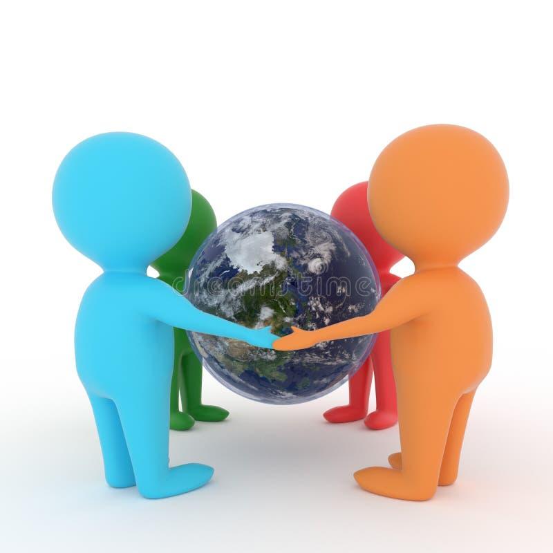 Pequeña gente que lleva a cabo las manos alrededor del planeta de la tierra en fondo blanco aislado en la representación 3D libre illustration