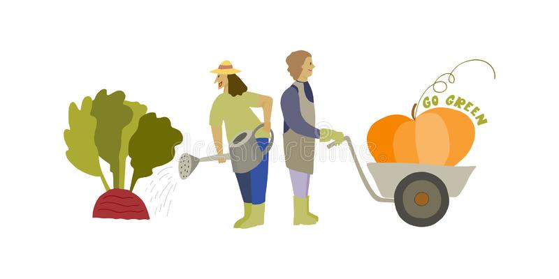 Pequeña gente y frutas grandes de las verduras El cultivar un huerto divertido Va el lema verde stock de ilustración