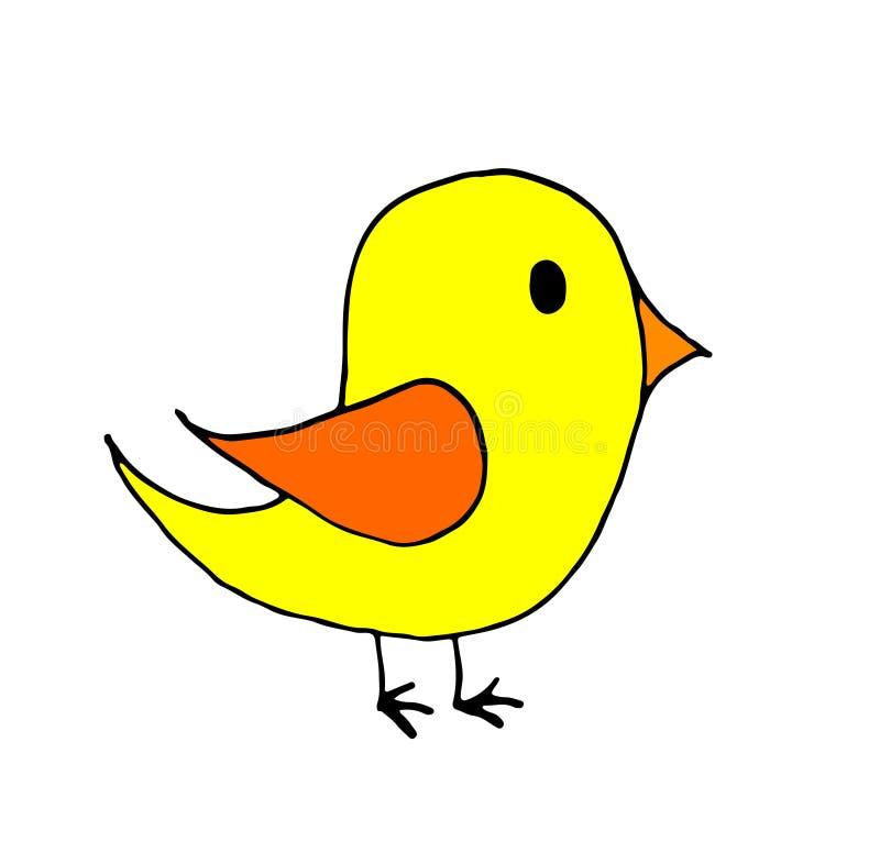 pequeña historieta dibujada mano del pájaro del garabato, línea arte, coloreando fotografía de archivo