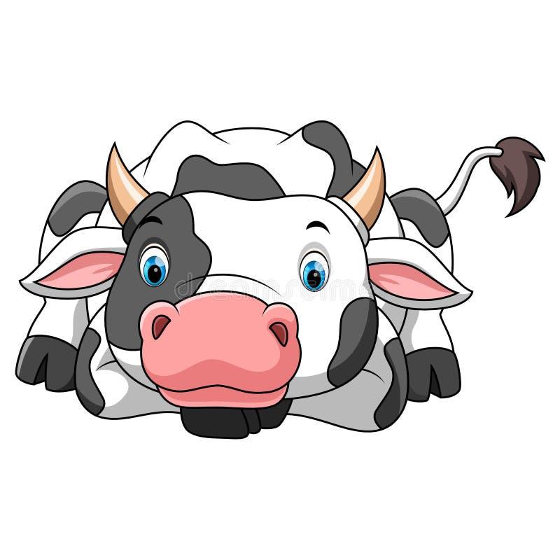 Pequeña historieta feliz de la vaca stock de ilustración