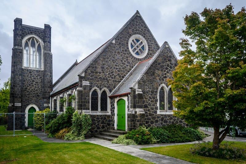 Pequeña iglesia con en Christchurch, Nueva Zelanda fotografía de archivo