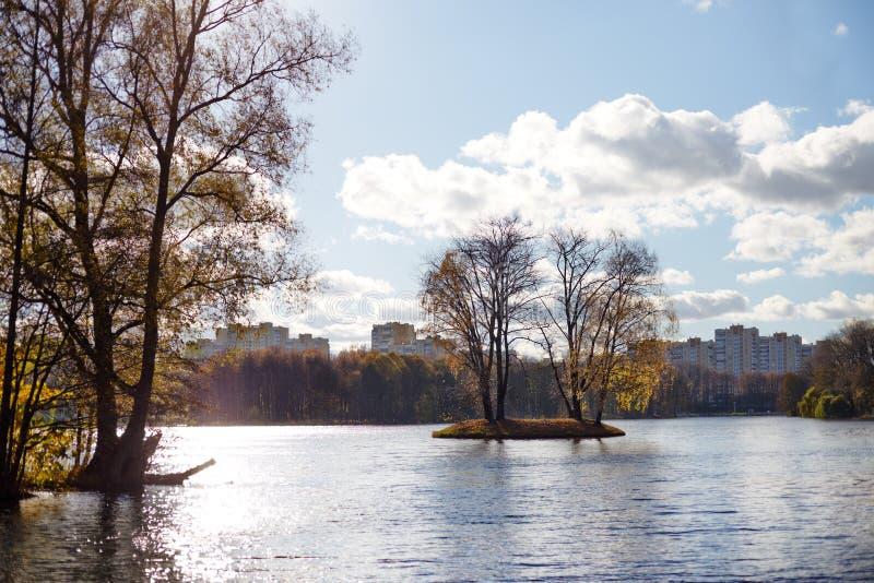 Pequeña isla en el medio de un lago en una ciudad imagen de archivo libre de regalías