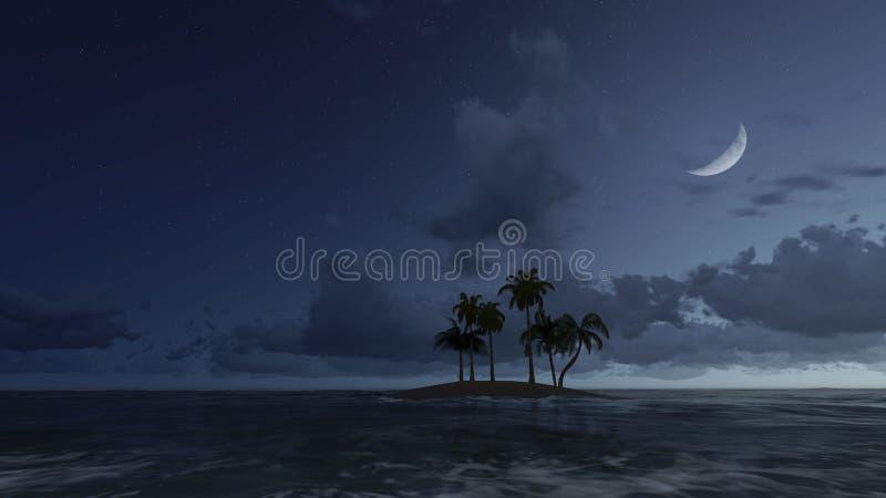Pequeña isla tropical en la noche del claro de luna stock de ilustración