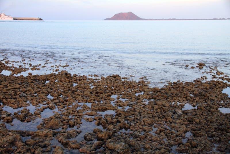 Pequeña isla y playa volcánica, Fuerteventura de Lobos; Islas Canarias; España fotografía de archivo libre de regalías