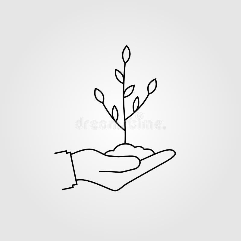 Pequeña línea del negro del árbol del control humano de la mano ilustración del vector