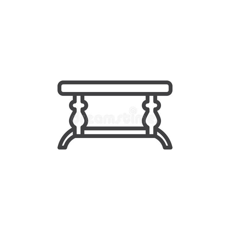 Pequeña línea icono de la mesa de centro ilustración del vector