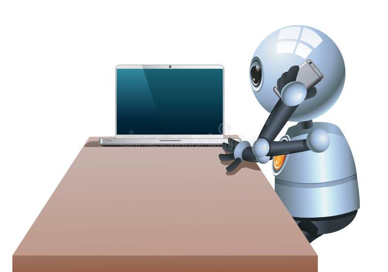Pequeña llamada del hombre de negocios del robot mientras que trabaja ilustración del vector