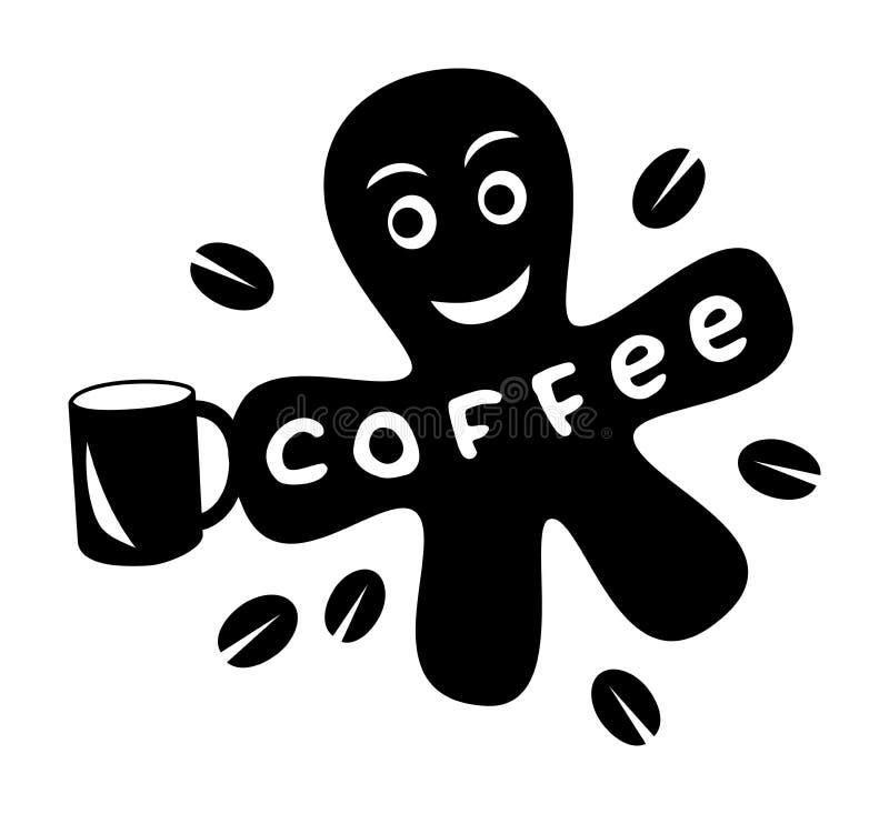 Pequeña mancha blanca /negra de la historieta divertida con la corona y los granos de café de la taza libre illustration