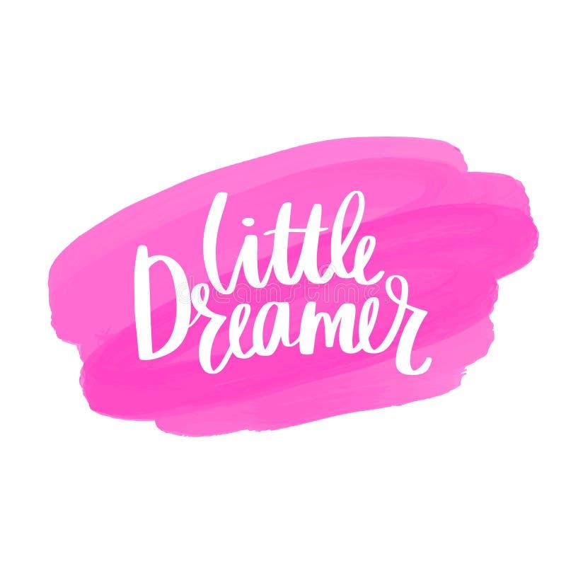 Pequeña mano del vector del soñador dibujada poniendo letras a frase stock de ilustración