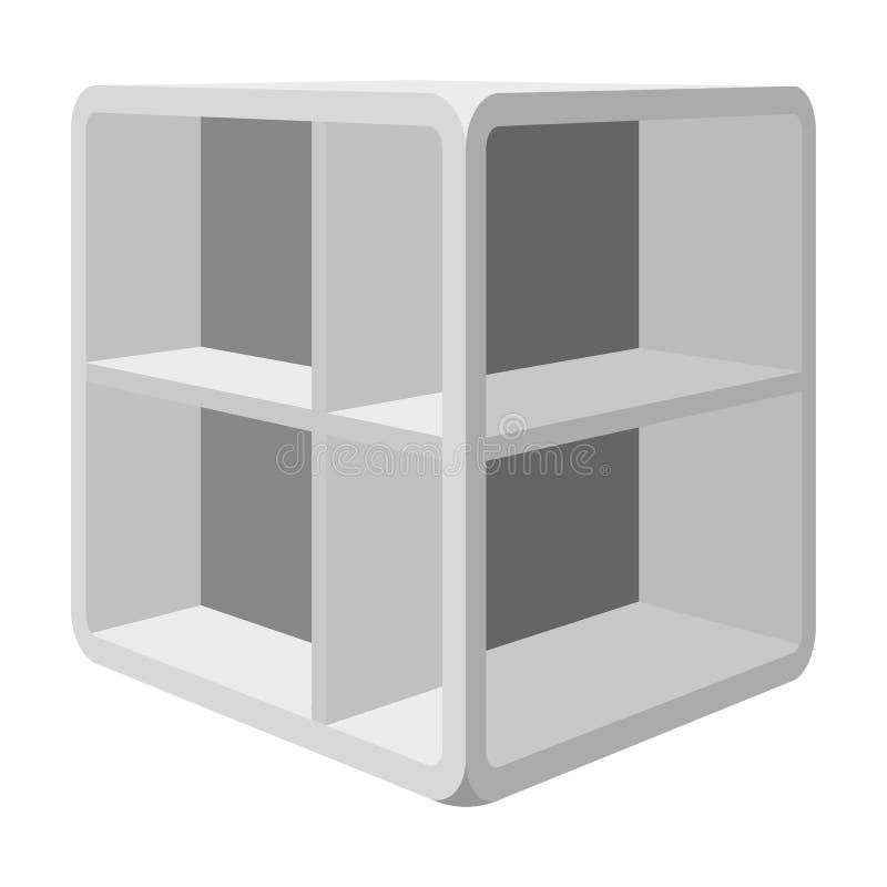 Pequeña mesa de centro del sitio Tabla blanca con las células Icono de los muebles del dormitorio solo en la acción monocromática libre illustration