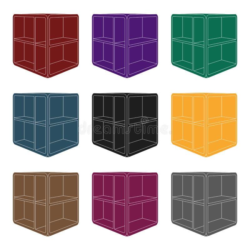 Pequeña mesa de centro del sitio Tabla blanca con las células Icono de los muebles del dormitorio solo en la acción negra del sím libre illustration