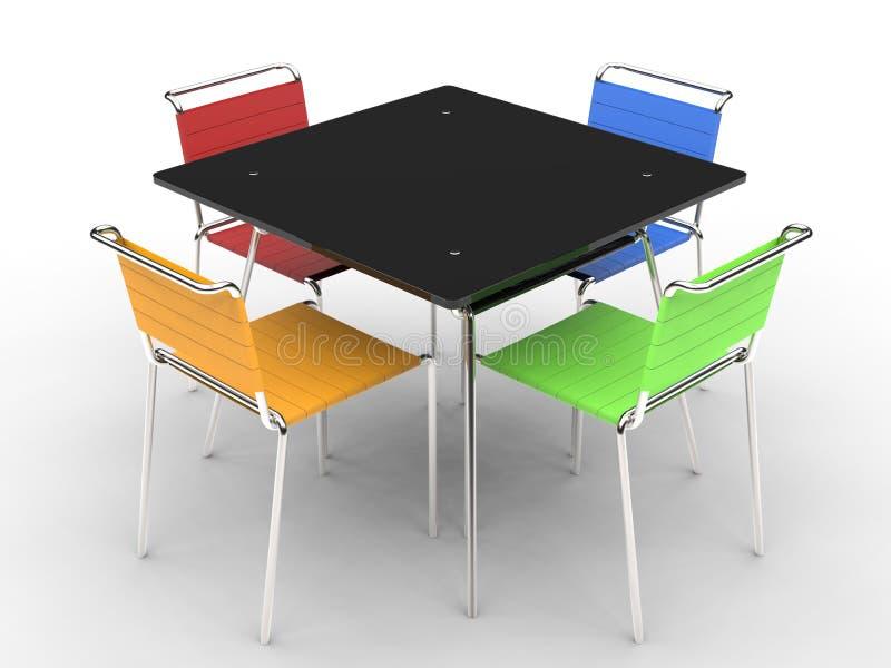 Pequeña mesa de comedor negra con las sillas coloridas fotografía de archivo