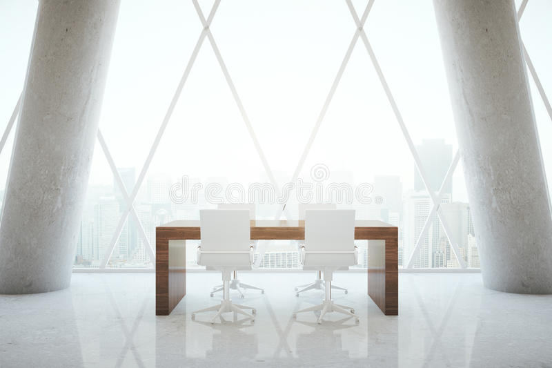 Pequeña mesa de reuniones en sitio ilustración del vector