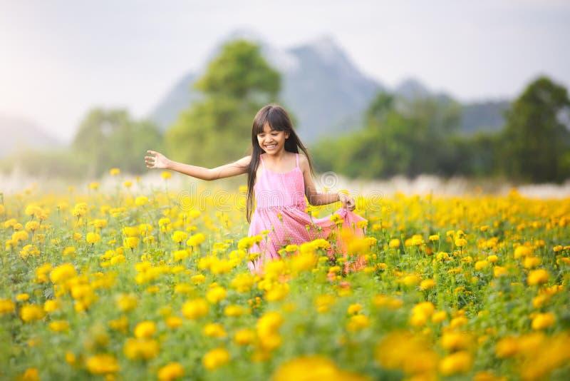 Pequeña muchacha asiática en campos de flor fotografía de archivo