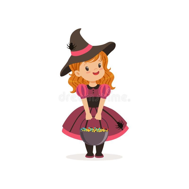 Pequeña muchacha de la bruja que sostiene el jugador de bolos lleno de los caramelos, niño lindo en el ejemplo del vector del tra stock de ilustración