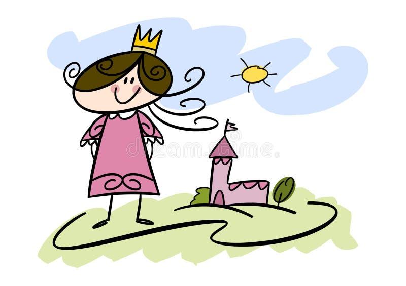 Pequeña muchacha de la princesa stock de ilustración