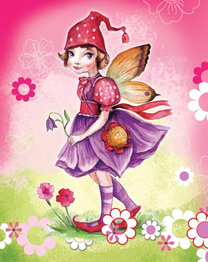 Pequeña muchacha del duende stock de ilustración