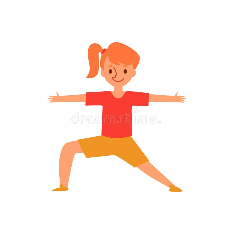 Pequeña muchacha del jengibre en actitud de la yoga, niño de la historieta en la posición del guerrero que estira los brazos y la ilustración del vector
