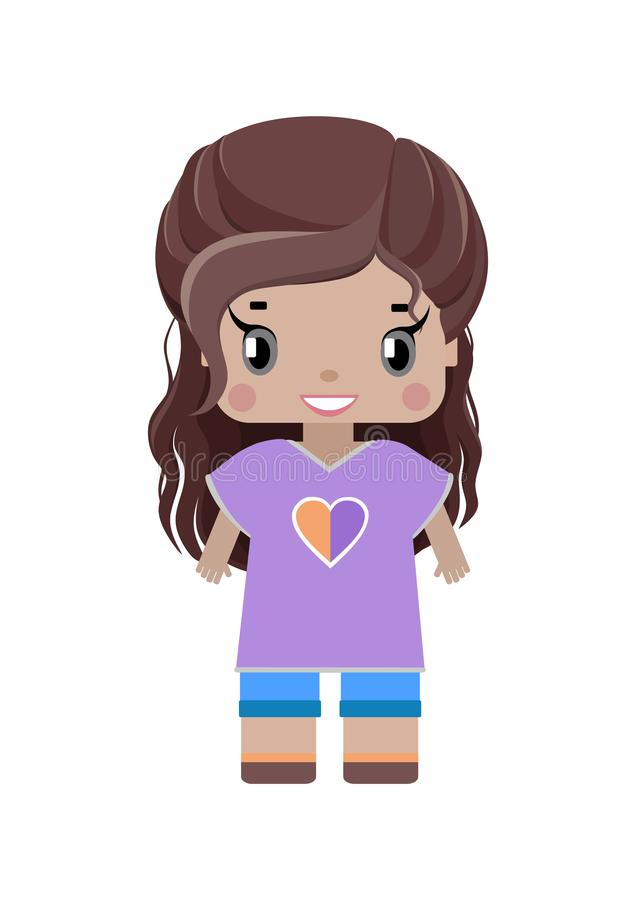 pequeña muchacha dulce con el pelo ondulado marrón largo libre illustration