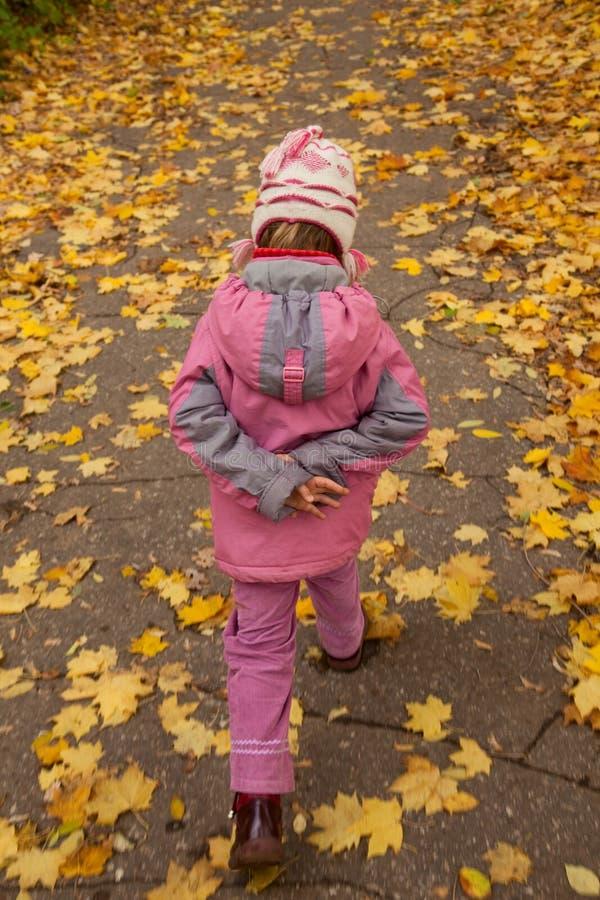 Pequeña muchacha en caminata rosada a pie en parque otoñal imagenes de archivo