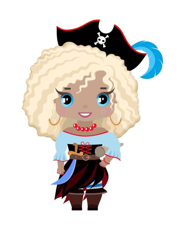 pequeña muchacha en un sombrero con una pluma, botas, equipo del pirata del pirata, con una espada y un mapa del tesoro Con el pe ilustración del vector