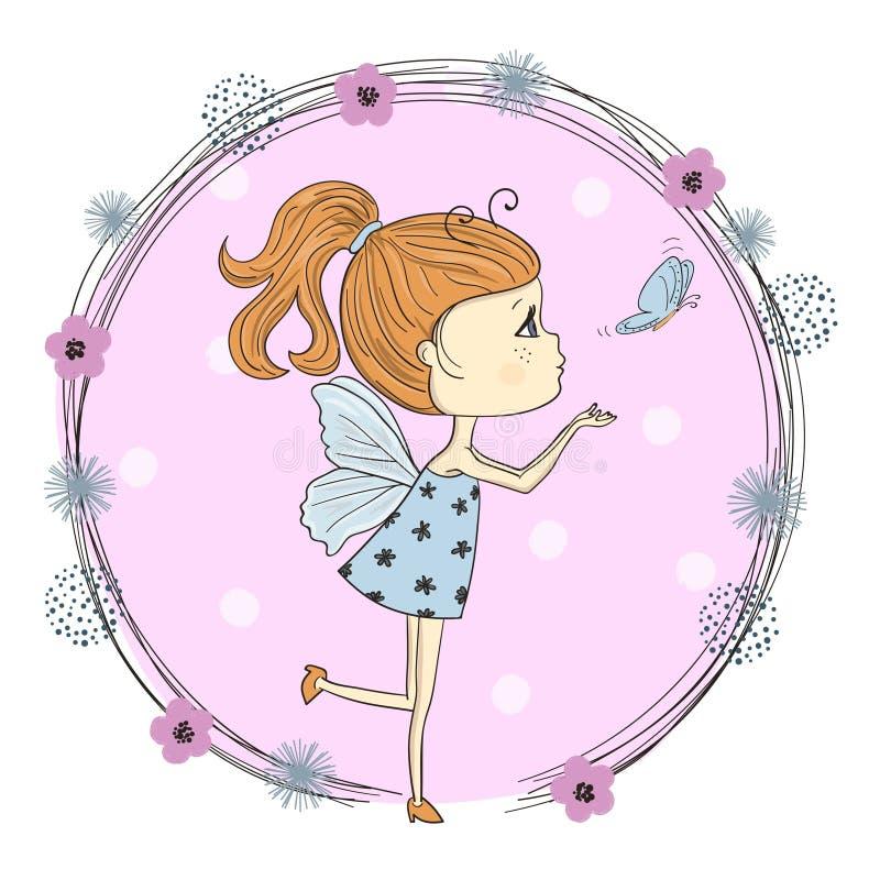 Pequeña muchacha linda de la historieta en un traje de la mariposa stock de ilustración