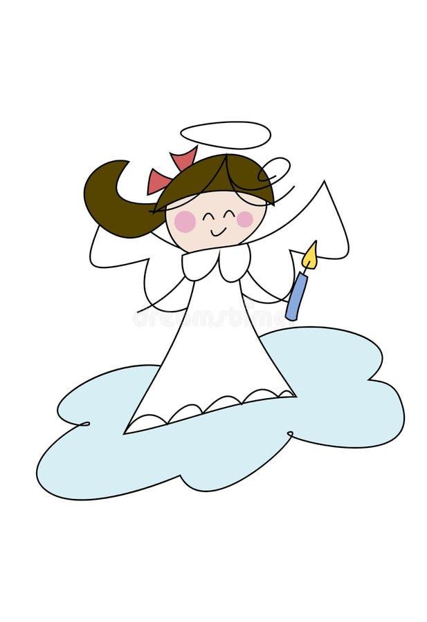 Pequeña muchacha linda del ángel stock de ilustración