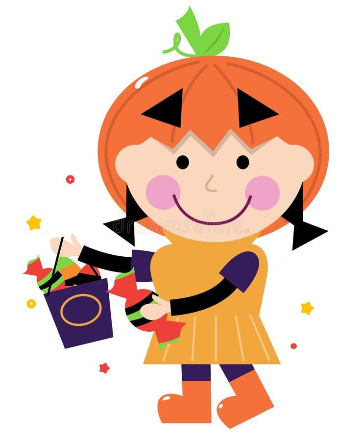 Pequeña muchacha linda en traje de la calabaza libre illustration
