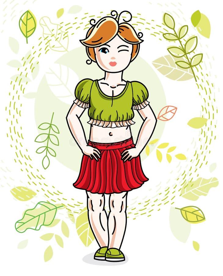 Pequeña muchacha pelirroja feliz linda que presenta en el fondo de la primavera libre illustration
