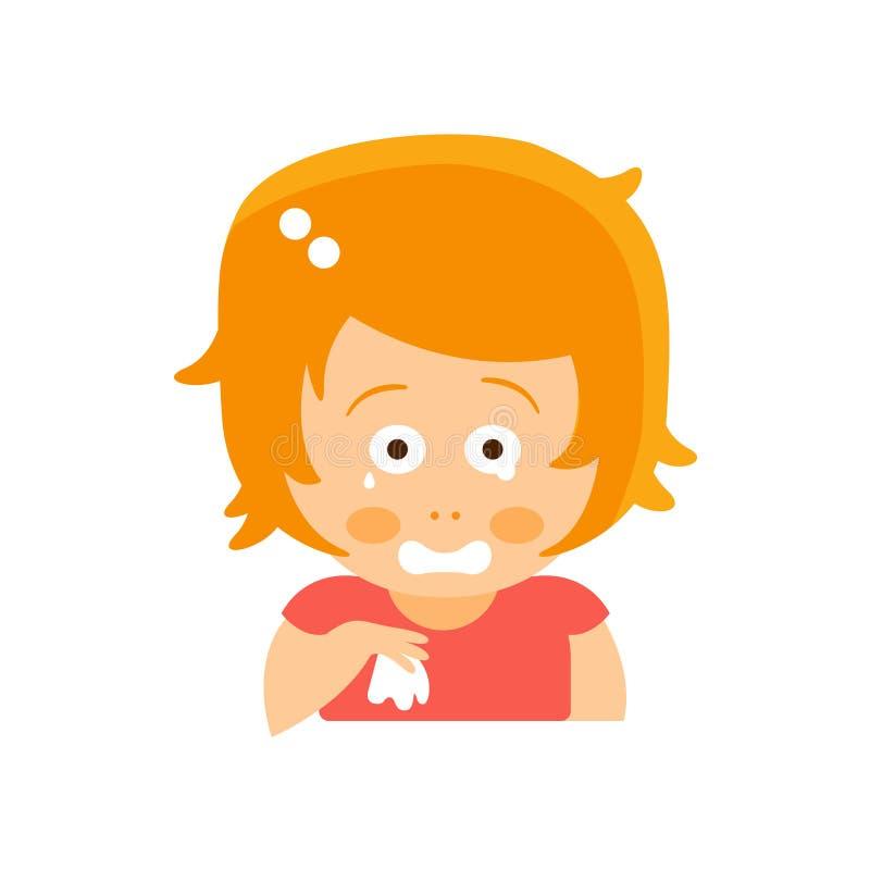 Pequeña muchacha principal roja en vestido rojo que llora con el ejemplo plano del vector de Emoji del retrato del personaje de d libre illustration