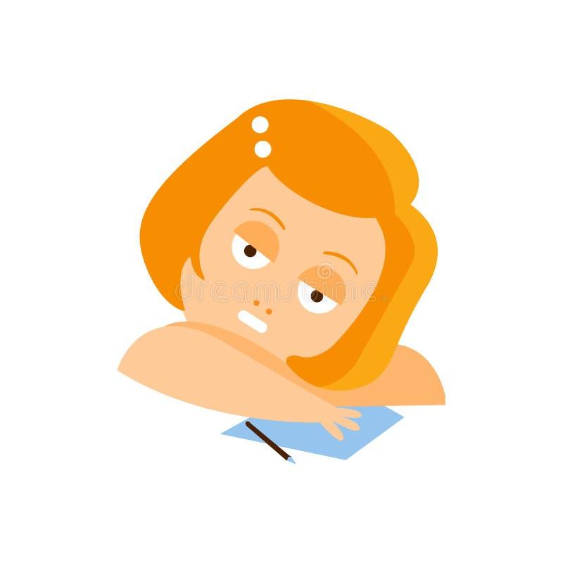 Pequeña muchacha principal roja en vestido rojo que sueña despierto escribiendo a una letra el ejemplo plano del vector de Emoji  ilustración del vector