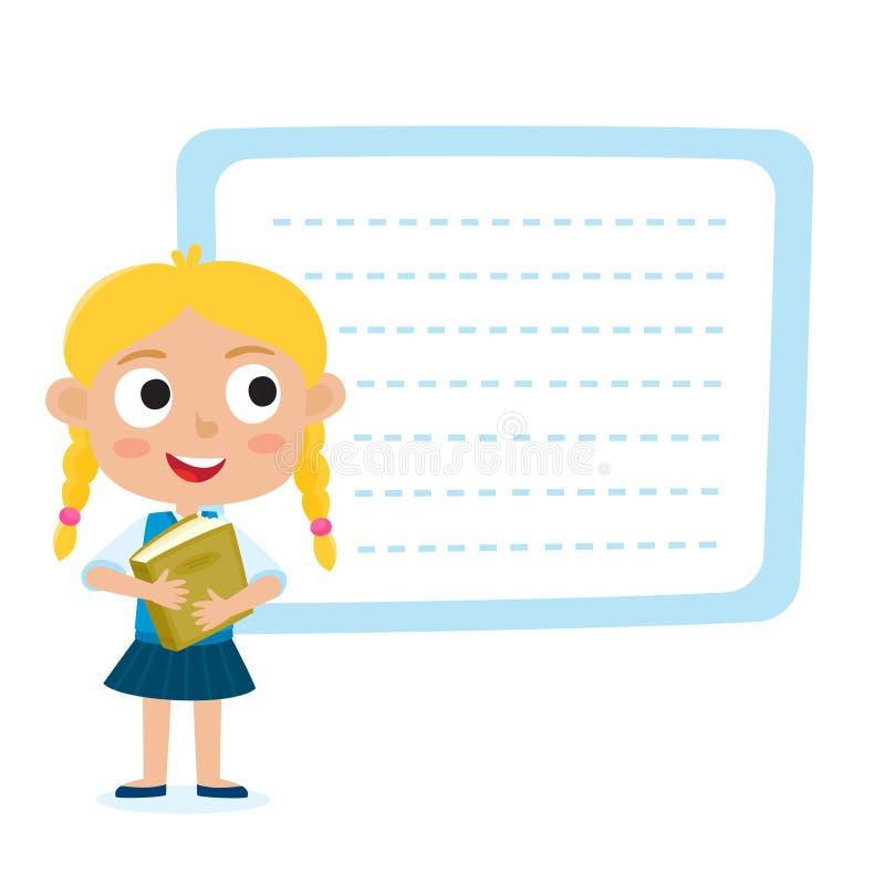 Pequeña muchacha rubia linda con un cartel en blanco para su entrada de texto stock de ilustración