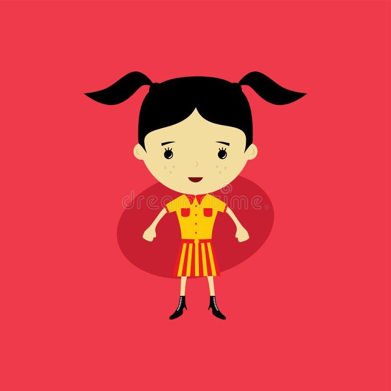 pequeña mujer feliz linda - historieta adorable de la muchacha stock de ilustración