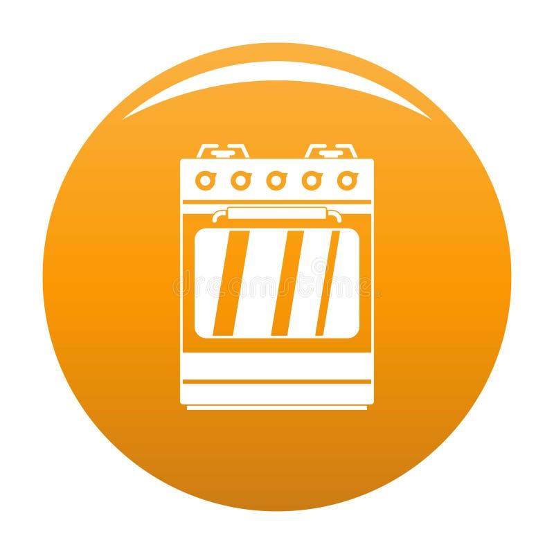Pequeña naranja del vector del icono del horno de gas stock de ilustración