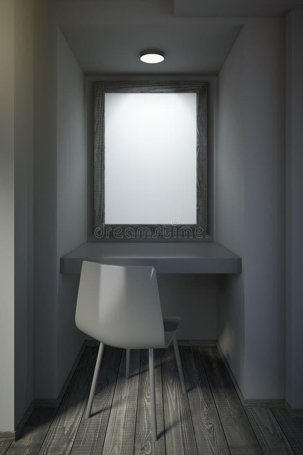 Pequeña oficina negra con el marco en blanco en la pared libre illustration
