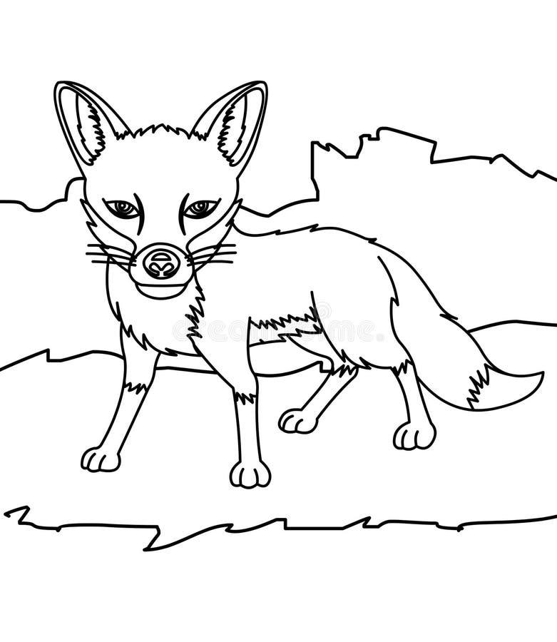 Pequeña página del colorante del zorro ilustración del vector