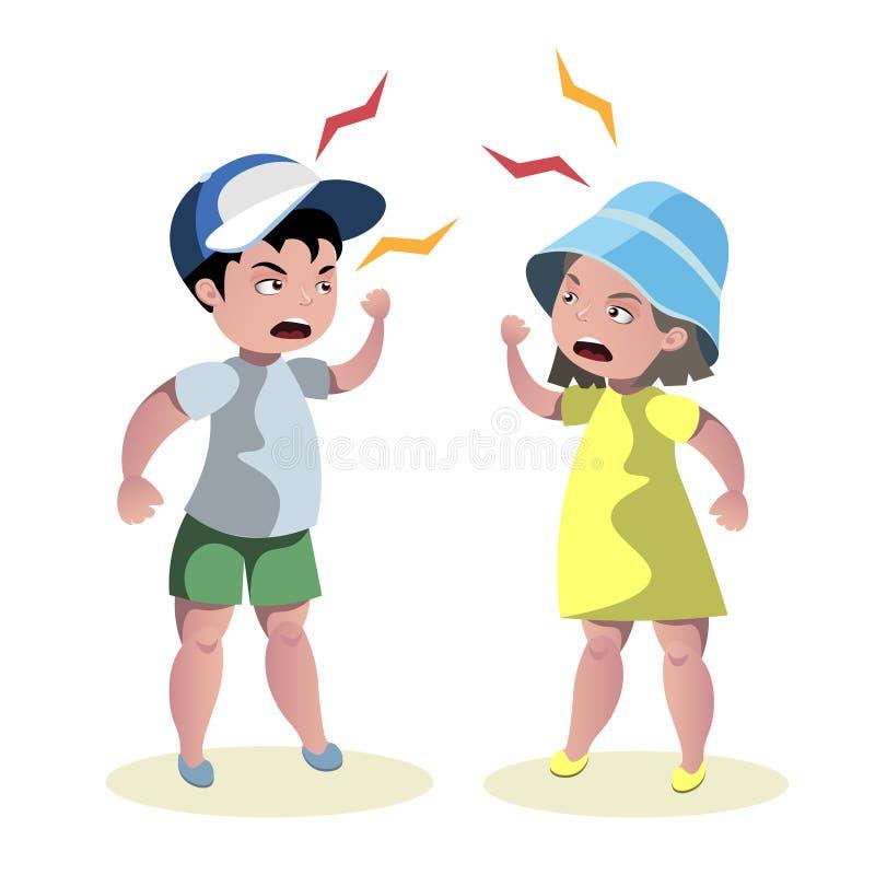 Pequeña pelea enojada de los niños stock de ilustración