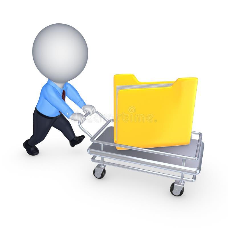 pequeña persona 3d con la carpeta amarilla en la carretilla de mano. stock de ilustración