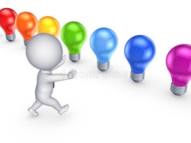 pequeña persona 3d que corre a las lámparas coloridas. ilustración del vector