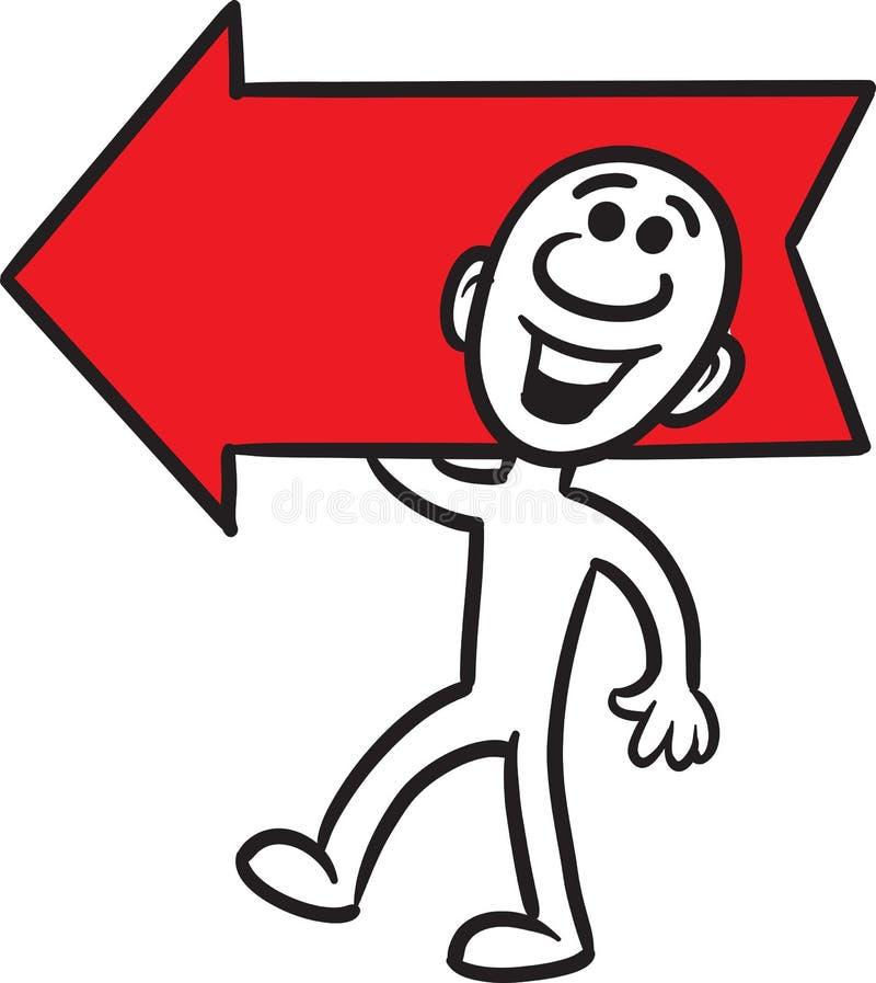 Pequeña persona del garabato - mostrar la dirección stock de ilustración