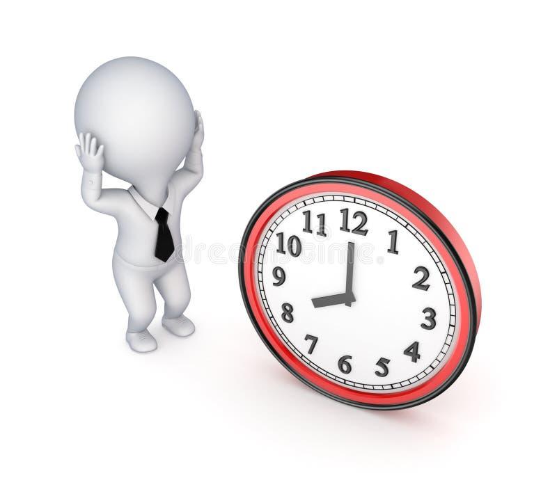 Pequeña persona subrayada 3d y reloj grande. ilustración del vector