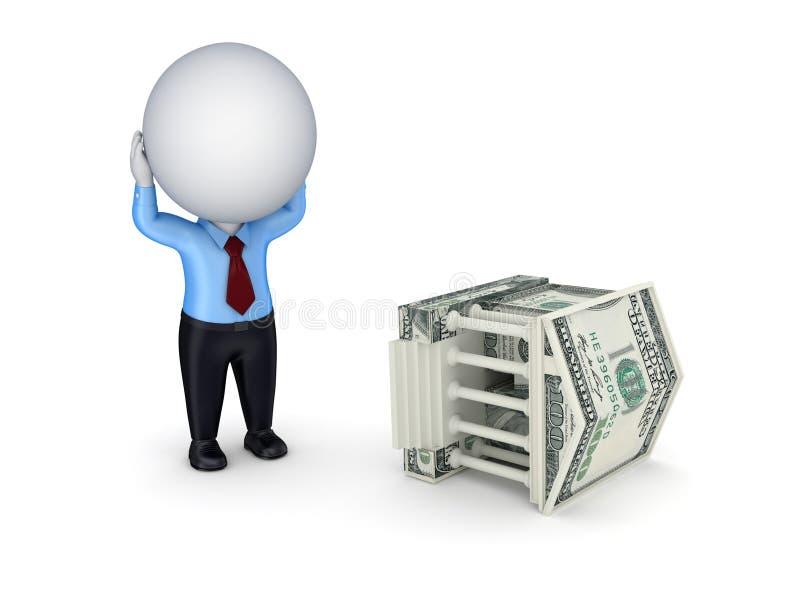 Pequeña persona tensionada 3d y corte hechas del dinero. ilustración del vector