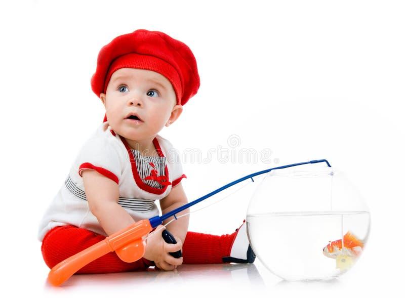 Pequeña pesca linda del bebé imagen de archivo libre de regalías