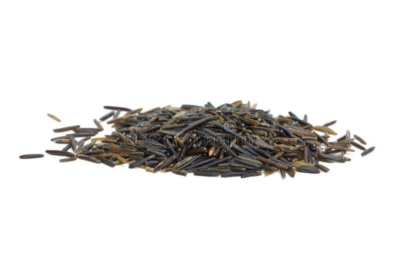 Pequeña pila de arroz salvaje negro imagenes de archivo