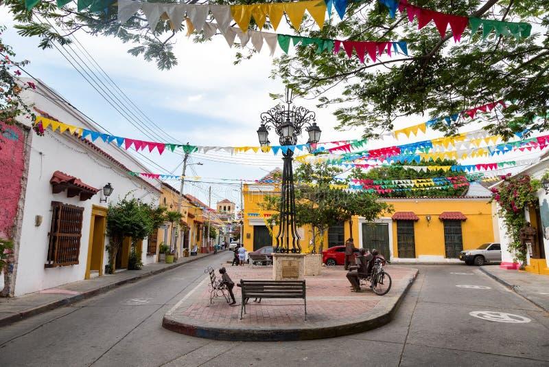 Pequeña plaza en Getsemani, Cartagena foto de archivo libre de regalías