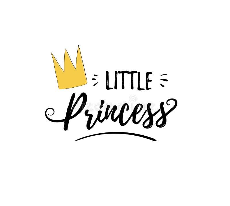 Pequeña princesa de la frase Etiqueta engomada femenina linda con las letras y corona para la impresión Diseño para el niño stock de ilustración