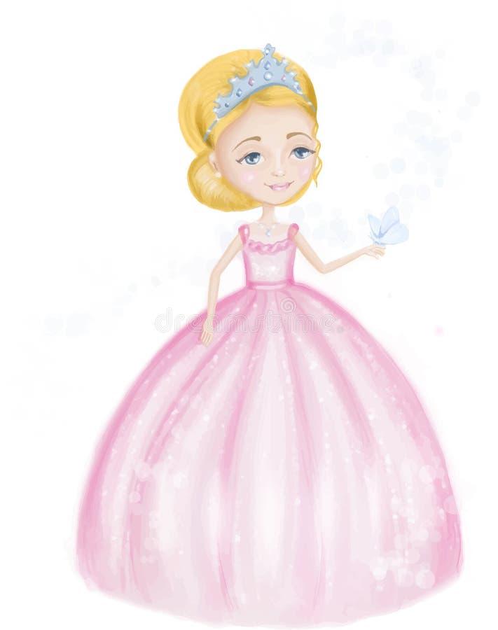 Pequeña princesa linda en vestido y tiara rosados con la mariposa hermosa aislada en un fondo blanco ilustración del vector