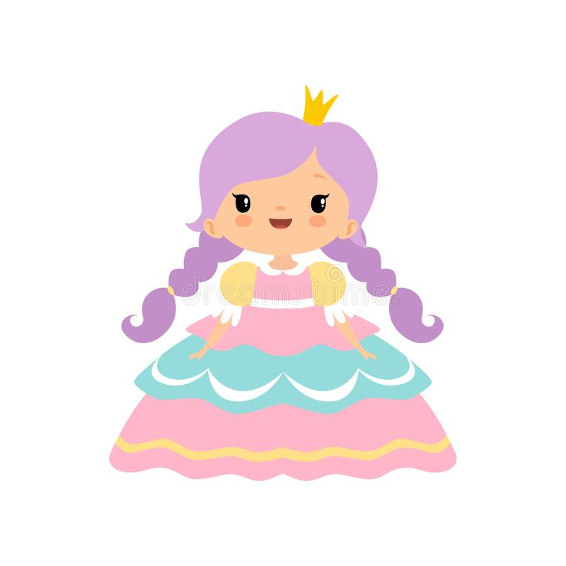 Pequeña princesa linda Girl del cuento de hadas con el ejemplo de oro del vector de la historieta de la corona ilustración del vector