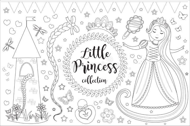 Pequeña princesa linda Rapunzel fijó la página del libro de colorear para los niños Colección de esquema del bosquejo del element ilustración del vector
