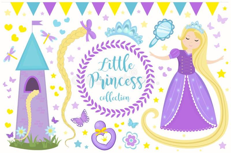 Pequeña princesa linda Rapunzel fijó objetos Elemento del diseño de la colección con la muchacha bonita, torre, mariposa, accesor libre illustration